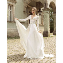 Summer Chiffon Wedding Dress with Long Lace Sleeves