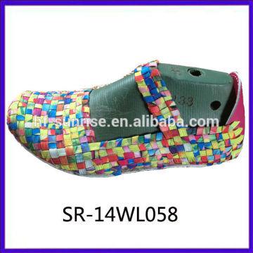 2014 nuevos estilos SR-14WL058 mezclan la parte superior tejida mano de los zapatos de la mezcla