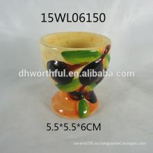 2016 venta de fábrica de cerámica taza de huevo de cerámica con diseño de oliva