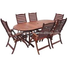 Meranti Muebles de jardín / al aire libre - Mesa + 6 silla