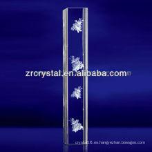 K9 3D Laser Flower grabado cristal con forma de pilar