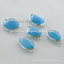 Wholesale Natural Blue Chalcedony Gemstone Bezel Setting Connectors Suppliers And Manufacturer