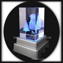 boneco de neve de cristal imagem personalizada com base de led