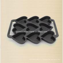 9PCS предсезонного литейного чугуна Форма для выпечки пирожных 24X19cm