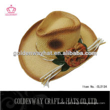 Chapéu de cowboy de crochet de palha de mulher com flor