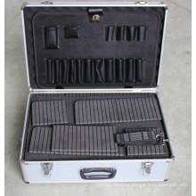 Caja de herramientas de aluminio con panel de herramientas y espuma de bloque para diferentes usos