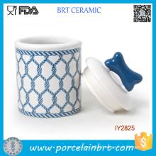 Hot Navy Blue Design Food Storage Ceramic Pet Bottle