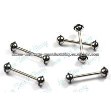 Acier chirurgical 316L couleur noire plaqué barbell sourcils anneaux nombril piercing bijoux