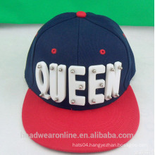 Fashion Custom Plastic Acrylic QUEEN Contrast Color Snapback Caps China Factory