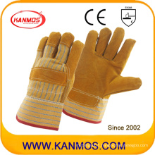 """9.5"""" Full Palm Industrial Safety Yellow Cowhide Leather Work Gloves (11006)"""