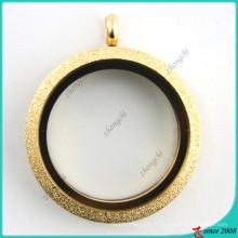 Collier médaillon en or pailleté en acier inoxydable (FL16041807)