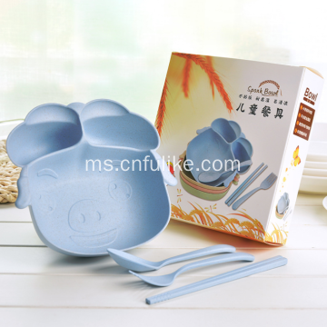 4-Pieces Piggy Shape Bamboo Fiber Childware Tableware