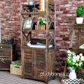 Vintage industrial living room wooden home wall Paulownia wooden shelf