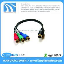 Преобразуйте 7-контактный S-video-мужчина к 3-му RCA-кабелю AV-кабеля RGB и подключите ноутбук / ноутбук к HDTV, DVD-ресиверу или проектору