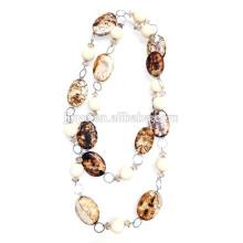 Fashion Clay Perlen Aussage Halskette Pullover Kette Halskette