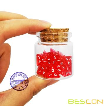 Bescon Mini Transparent Red D4 Dice 30pcs Healing Potion Bottle, 30pcs Roleplaying Mini Red Gem D4 Dice Healing Potion Pack