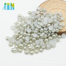 Vendas de fábrica Meia Pérolas Beads Flat Round Pérolas para Acessórios de Vestuário, Z35-Lt. Cinza Prata