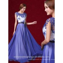Alibaba Elegante Largo Nuevo Diseñador Gorra SLeeve Color Azul Gasa Playa Encaje Vestidos De Noche O Vestido De Dama De Honor LE26