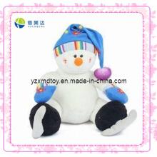 Branco sorrindo pelúcia patinação boneco de neve brinquedo (xdt-0187)