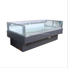 Square glass top open commercial fresh chiller