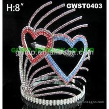 valentine heart rhinestone tiara crown -GWST0403