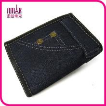 Unisex Blue Vintage Trifold Denim Wallet Bifold Purse Mens Handmade Long Wallet