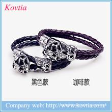 Bio magnetic leather bracelet 316 stainless steel skull bracelets titanium steel snake bracelet