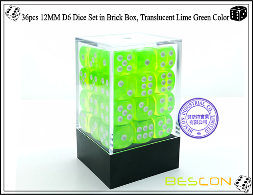 36pcs 12MM D6 Dice Set in Brick Box, Translucent Lime Green Color-1