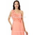 2017 new fashion girl chiffon gown pink color one sholuder long sexy back open evening dress