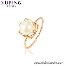 15438 xuping dernière conception d'or romantique perle d'eau douce magnifique 18k plaqué or bague pour cadeau de fête de mariage