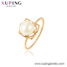 15438 xuping latest gold design romantic freshwater pearl gorgeous 18k gold plated ring for wedding party holiday gift