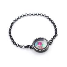 Специальный черный кристалл жемчужина из нержавеющей стали 316L с плавающей медальон цепи ювелирные изделия браслет