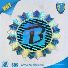 Fabricante profissional antif-falso personalizado prata círculo etiqueta de etiqueta de holograma 3d