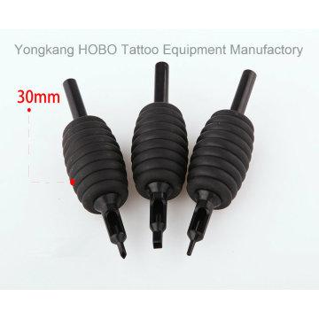 Tubos descartáveis pretos da tatuagem da borracha de silicone 30mm com pontas pretas