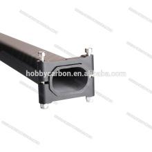 Horizontale achteckige Rohrklemmen eloxiert schwarz bewegliche Klemme 20x30mm M3 Gewinde