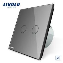 Livolo Switch Panneau de verre de luxe en cristal gris de luxe aux normes européennes et 2 interrupteurs muraux sans fil Smart Touch à télécommande 1 voie