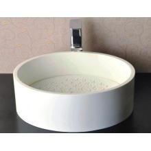Cuenca de mármol redonda blanca brillante para el cuarto de baño (BS-8315)