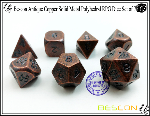 Bescon Antique Copper Solid Metal Polyhedral RPG Dice Set of 7-4