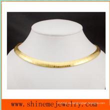 Moda de alta calidad de acero inoxidable accesorios plana placa plana serpiente cadena collar (SSNL2629)