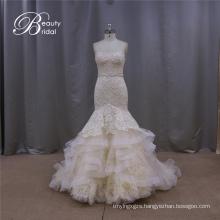 Dreamlike Champagne Mermaid Wedding Dress
