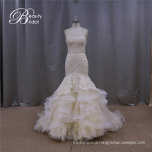 Vestido de casamento de sereia de champanhe dreamlike