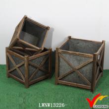 Vintage zinco madeira antigo indoor plantador flor potes
