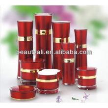 Bouteille cosmétique acrylique ronde à la taille avec pompe