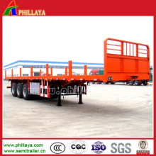 Tri-Axles Semi Platform Container Truck Trailer with Stakes