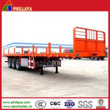 Reboque do caminhão do recipiente de Tri-eixos Semi plataforma com estacas