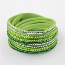 Nouveau Bracelet En Cristal De Cuir