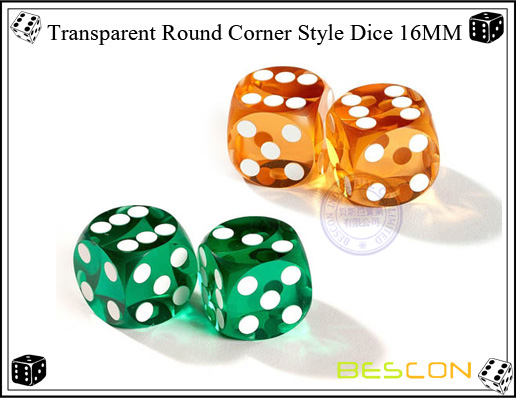 Transparent Round Corner Style Dice 16MM