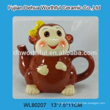 Monkey design ceramic tea kettle