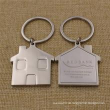 Promotion Geschenke Metal House geformt Schlüsselanhänger mit Laser Logo