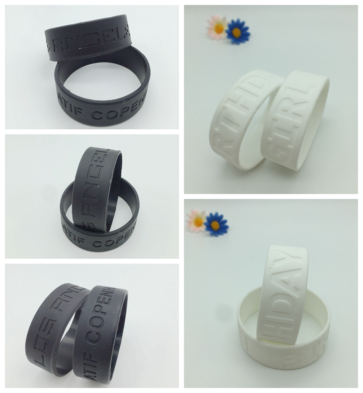 debossed wide wristbands